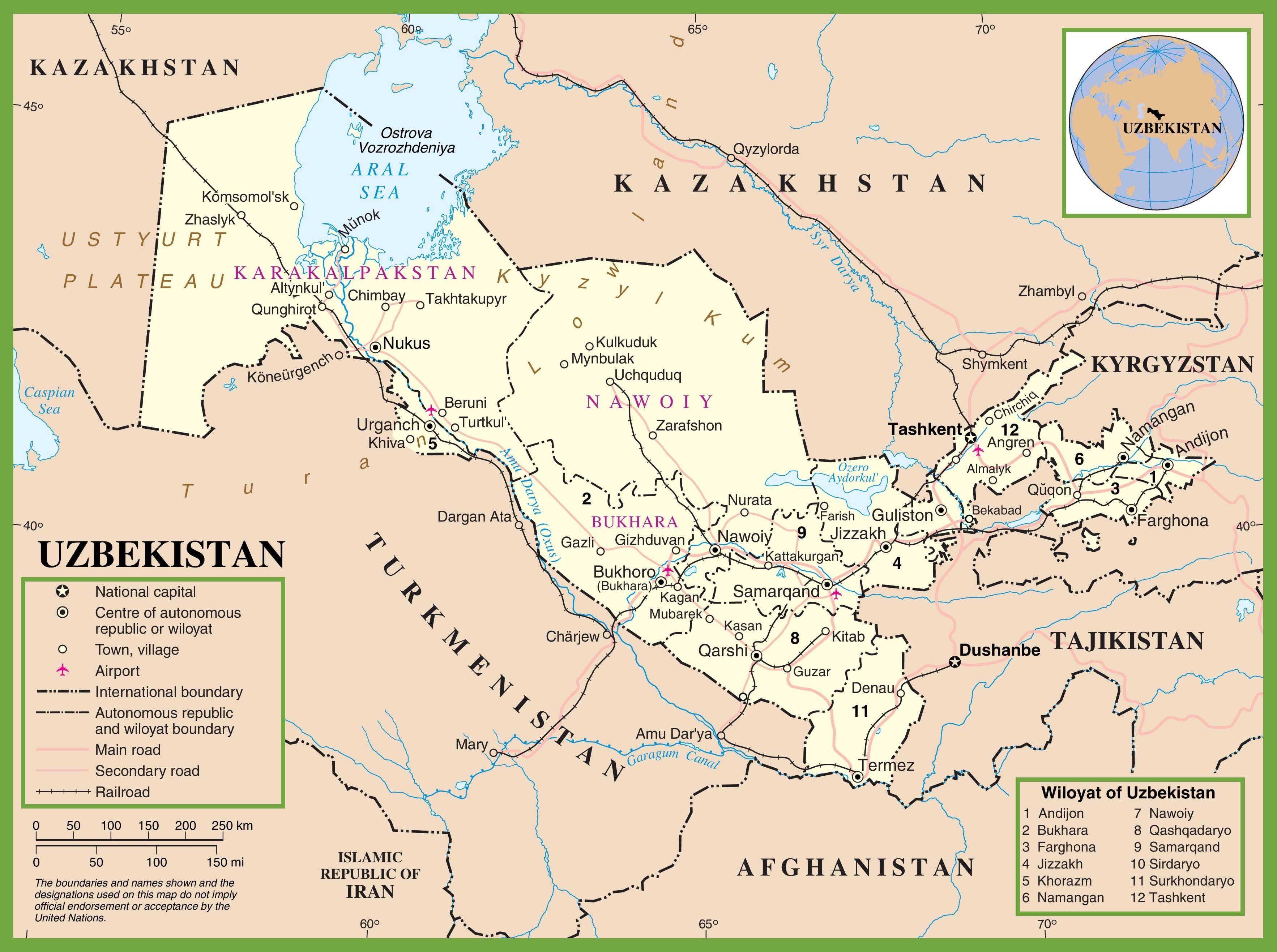 Uzbekistan political map - Map of Uzbekistan political ...