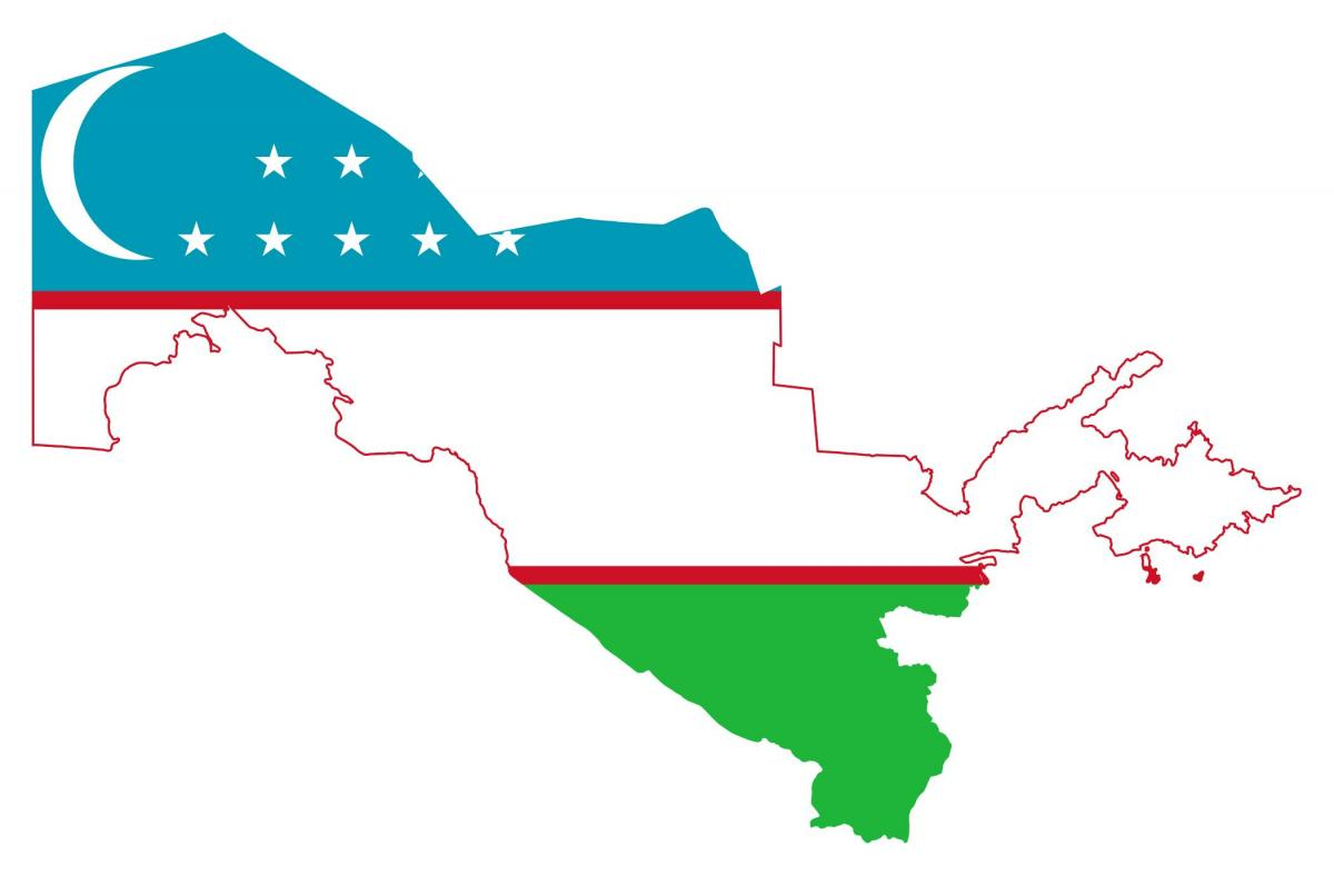 map of Uzbekistan flag