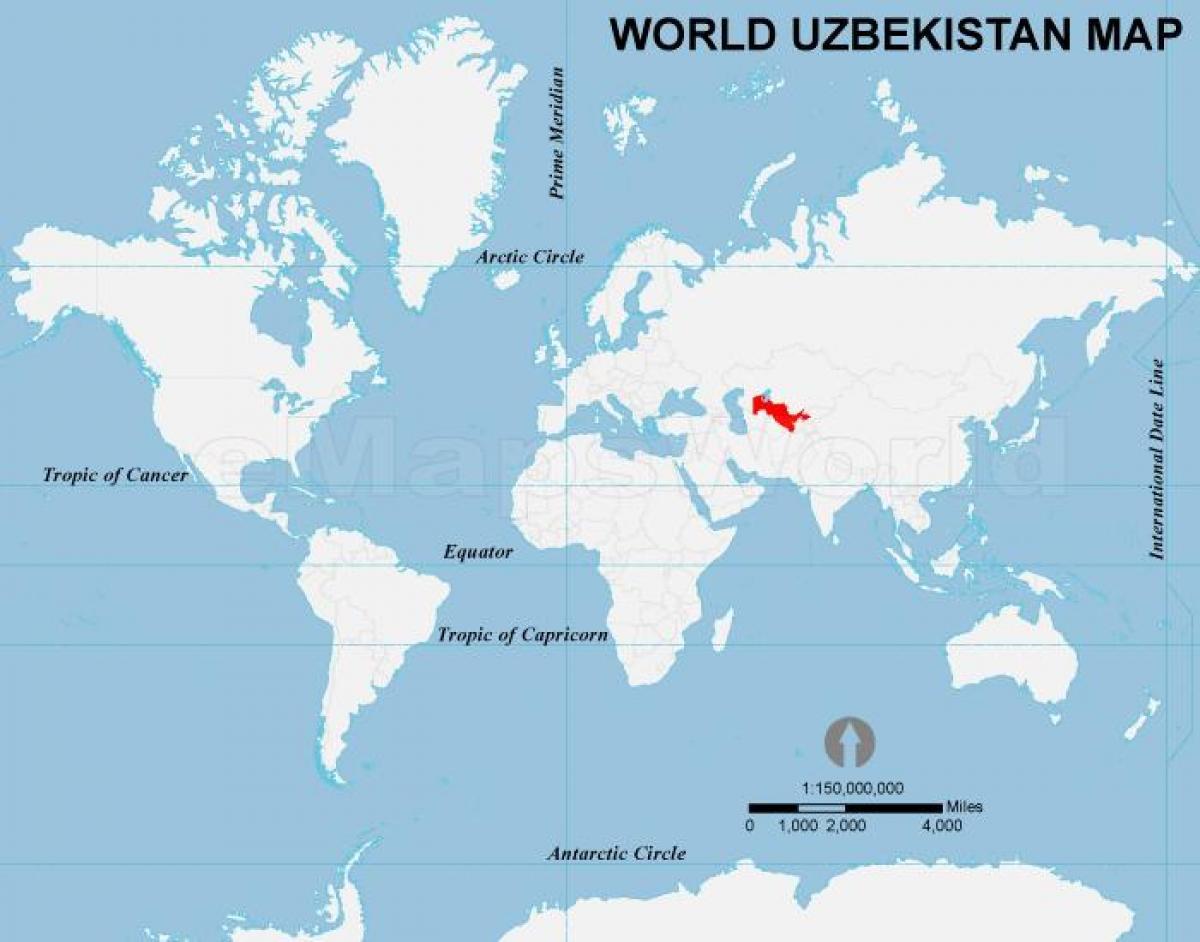 Uzbekistan on world map - Uzbekistan location on world map ...
